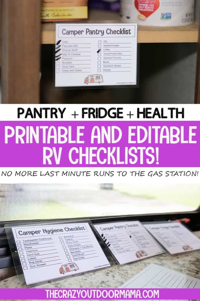 printable checklists for rv you can edit for pantry fridge and medicine