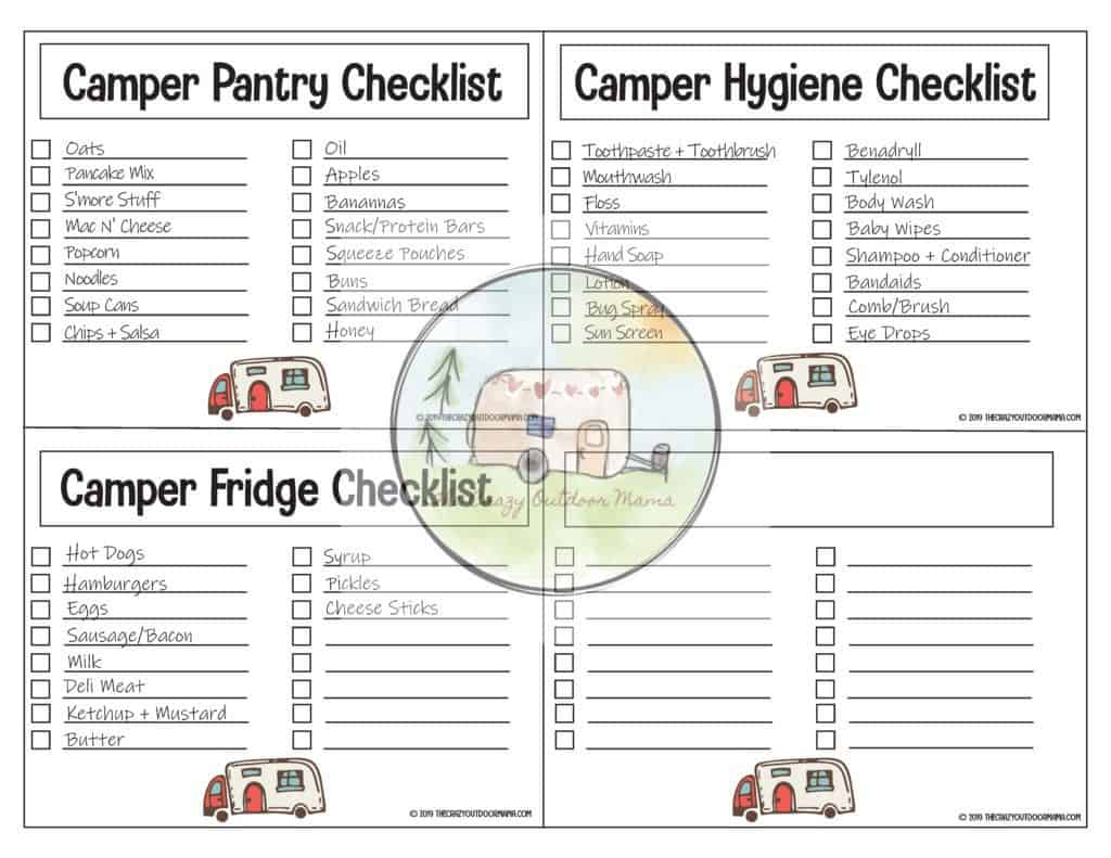 printable camping food and hygiene list