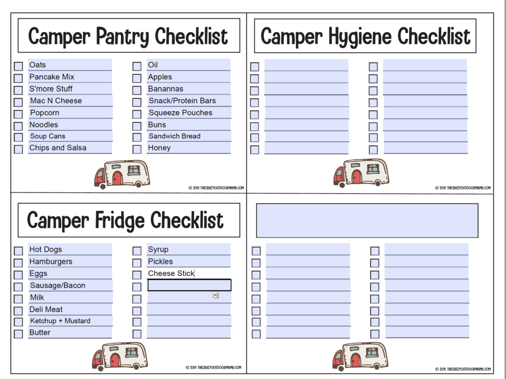 editable checklist for camping food and toiletries