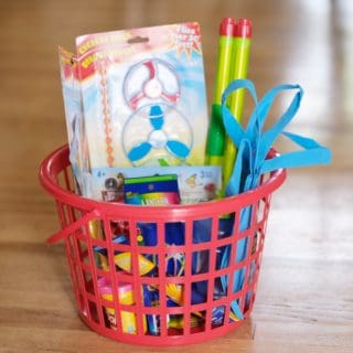 camping activity basket for kids cheap from the dollar store
