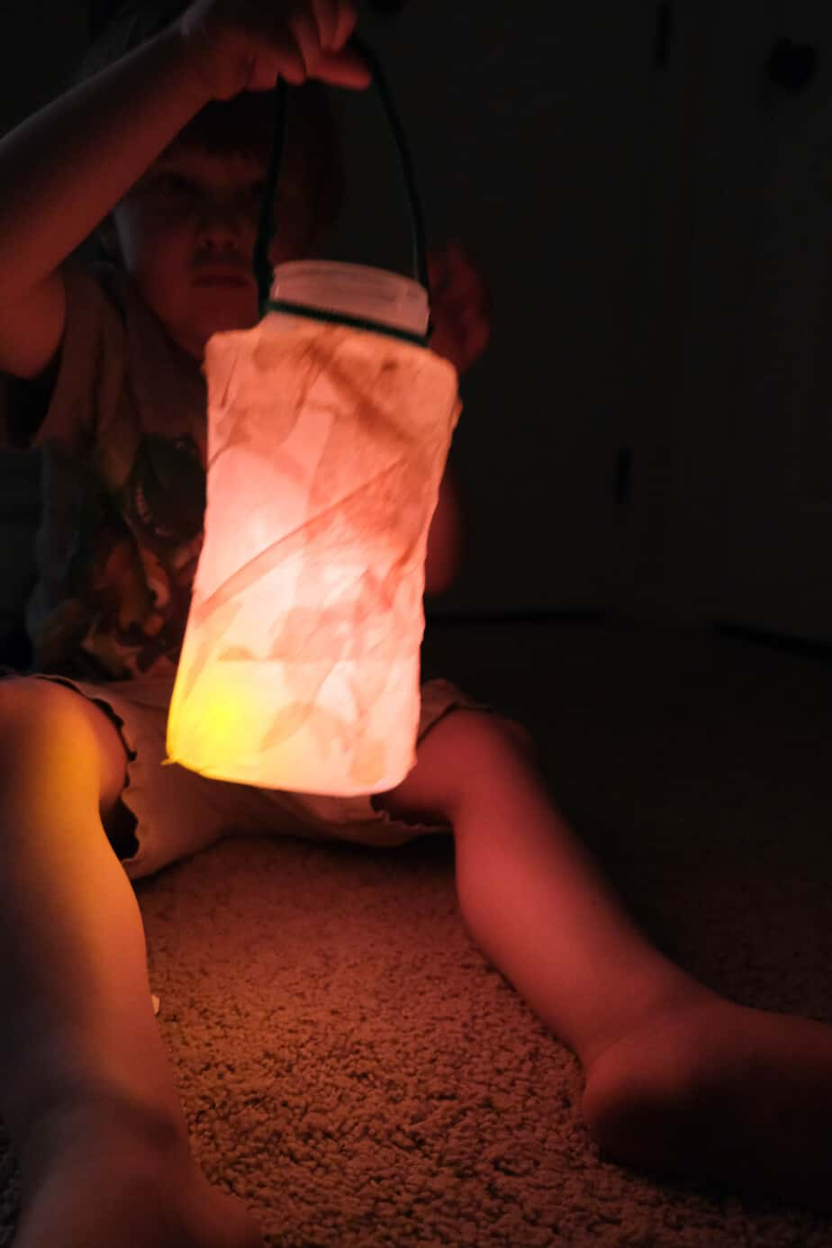 camping lantern craft with tissue paper