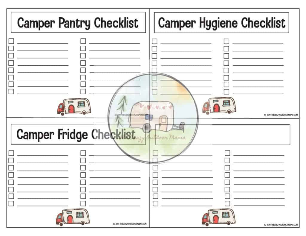 Write in blank template printable for camping food, fridge, toiletries