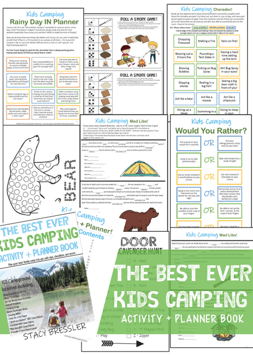kids camping activity book