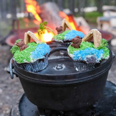 camping dessert dutch oven cupcakes for family