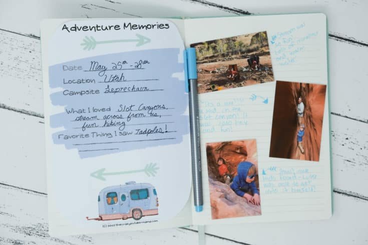 camping travel journal diy printable templates