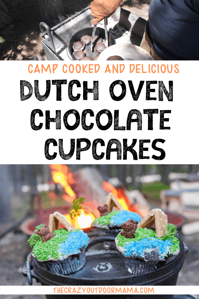 dutch oven chocolate cupcakes baked at camp for camping dessert