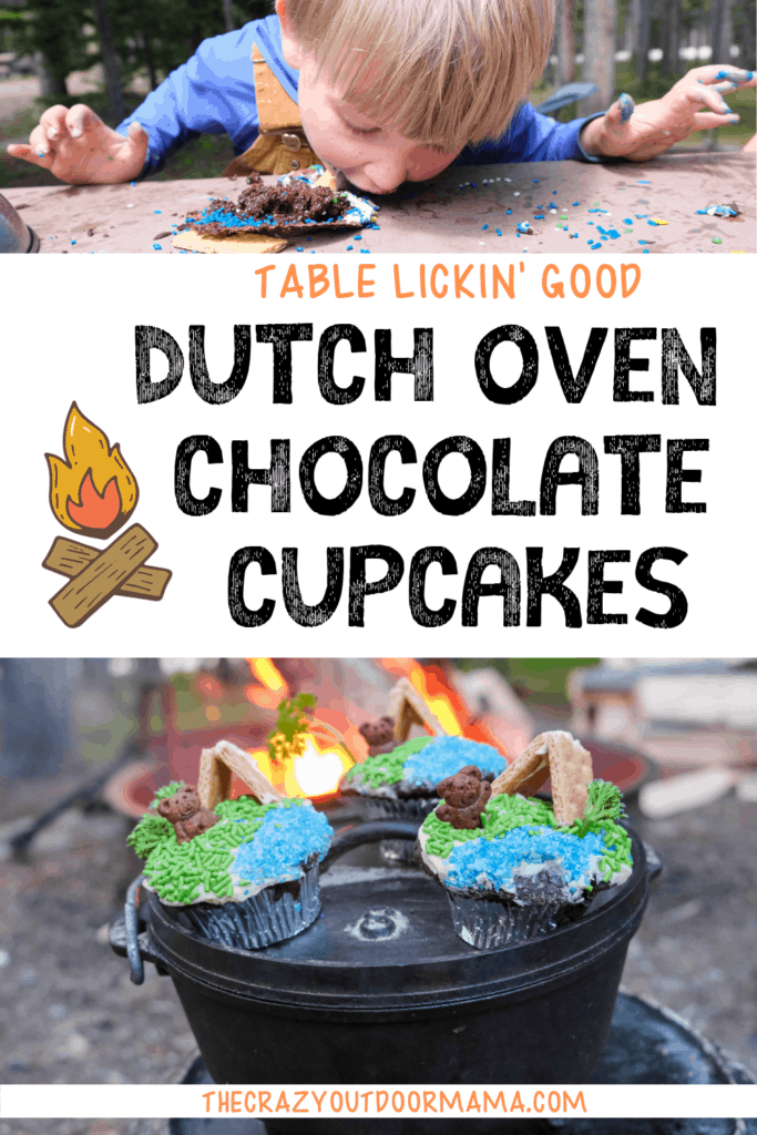 kids camping dessert food dutch oven chocolate cupcakes