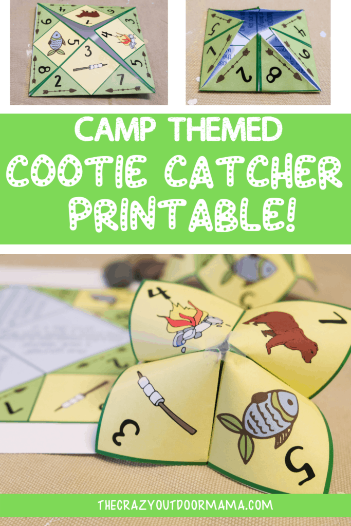 graphic about Printable Cootie Catcher Template named Printable Camp Themed Cootie Catcher (Fortune Teller) For