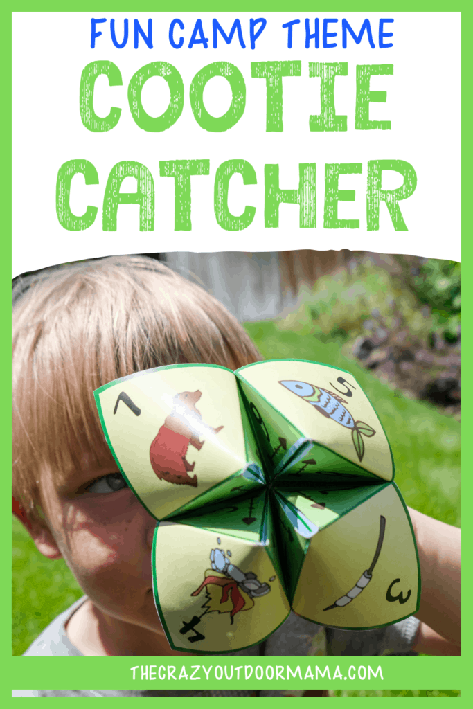 printable cootie catcher template idea for kid camping activity