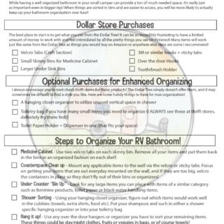 pdf checklist for rv bathroom ideas to organize