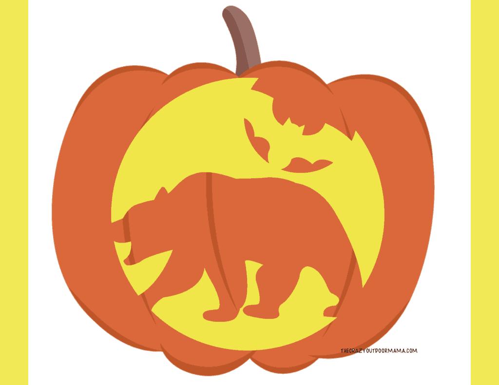 bear halloween template for pumpkin