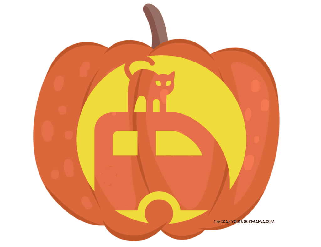 pumpkin carving template camping themed cat on trailer