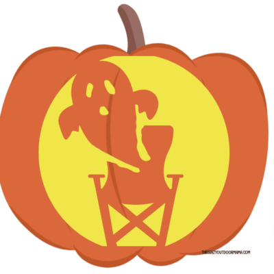 ghost in camp chair pumpkin carving template