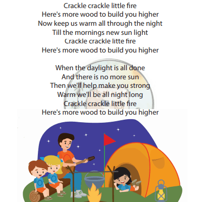 crackle crackle little fire tune of twinkle twinkle little star campfire song