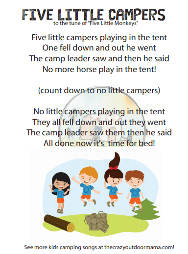 five little campers to tune of five little monkeys camp song for kids
