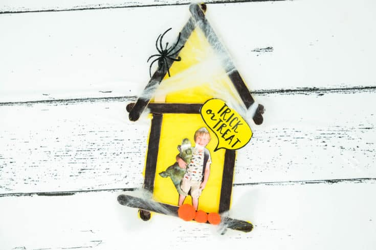 Spooky Halloween Popisicle Stick House Craft For Kids