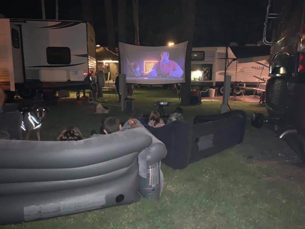movie projector for fun camping activity at night with the family