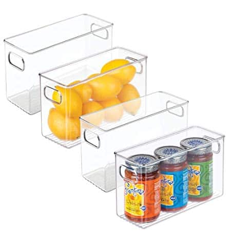 Plastic Refrigerator or Freezer Food Storage Bins with Handles