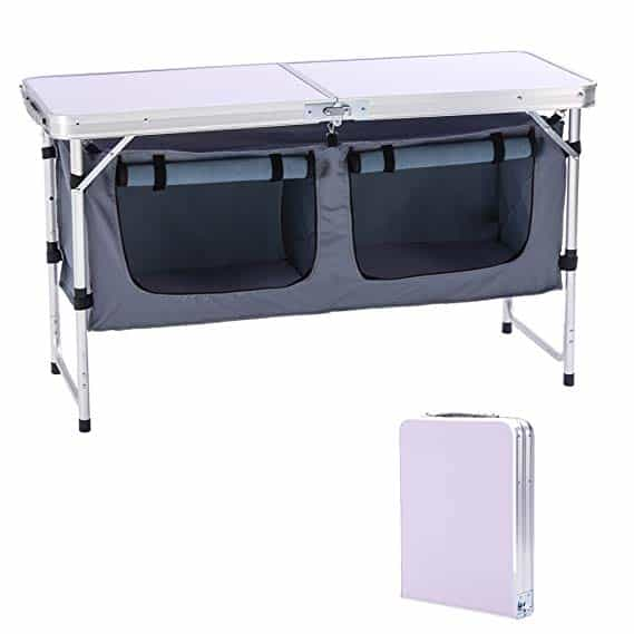Outdoor Folding Table with Storage Organizer