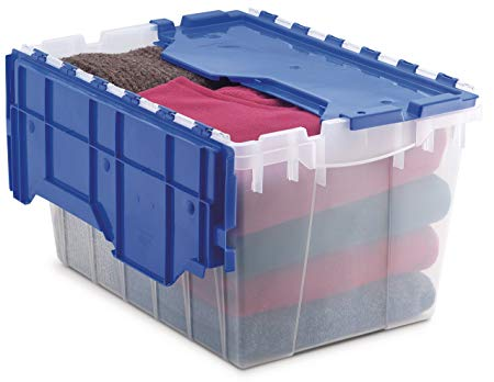 12-Gallon Plastic Storage Box with Attached Lid (for mice free under bed storage)