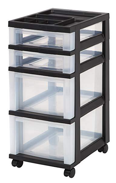 IRIS 4-Drawer Rolling Storage Cart with Organizer Top
