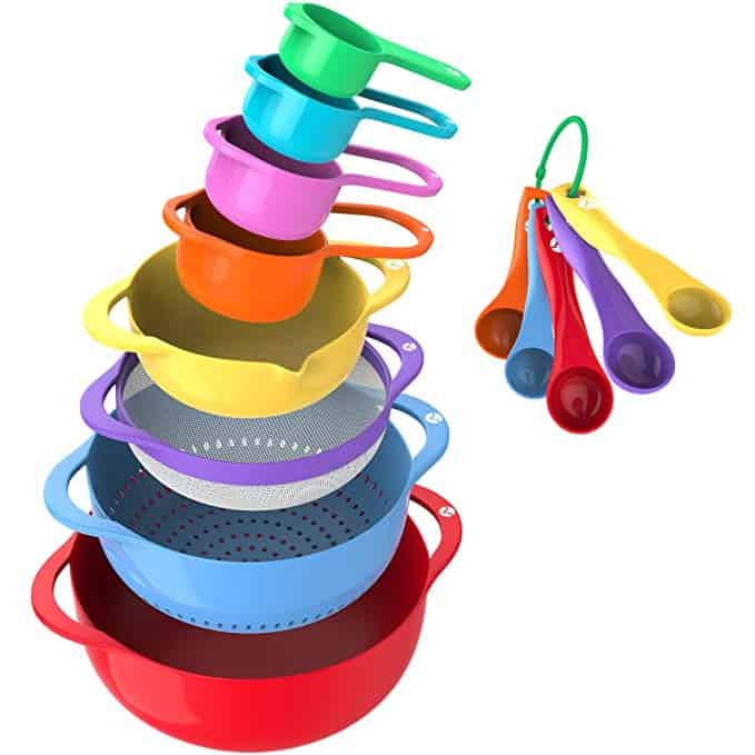 13 Piece Mixing Bowl Set - Colorful Kitchen Bowls Colander Mesh Strainer with Handles Measuring Cups and Spoons