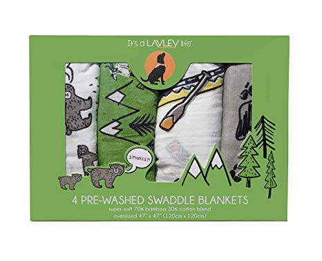 4 Pack - Camping Mountain Theme Baby Swaddle Pack -