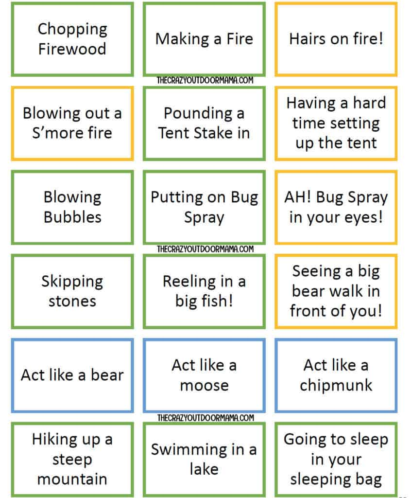 27 Fun Camping Charades Prompts Printable Pdf The Crazy Outdoor Mama
