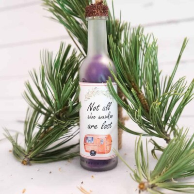 diy camping christmas ornament wine bottle