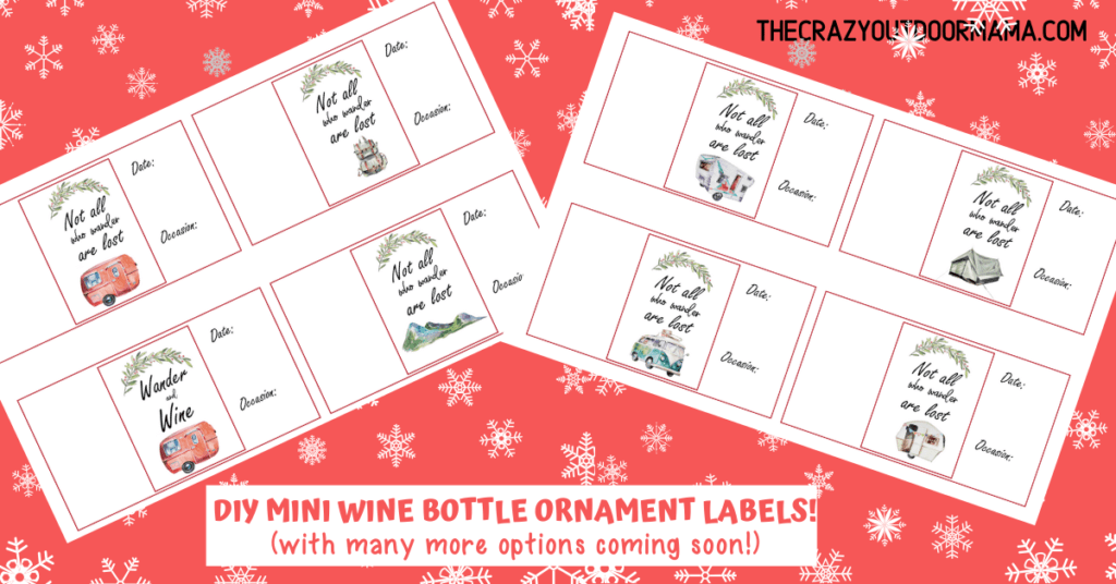 free mini wine bottle camp themed labels for christmas ornament