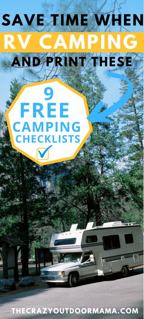 rv camping checklists