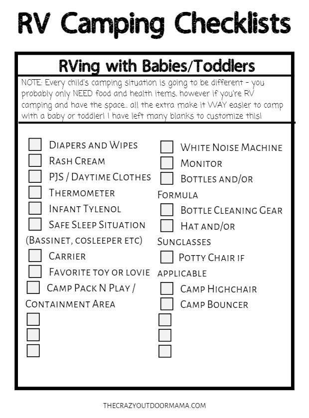 rving with kids checklist