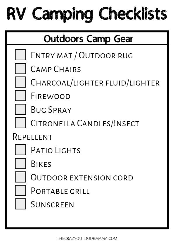 outdoor rv checklist