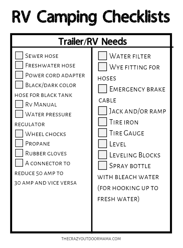 rv camping checklist for trailer needs