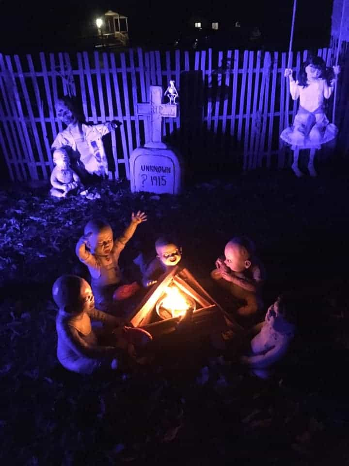 zombie children by campfire