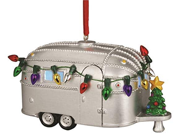 Light Up  Camper Ornament with Christmas Tree (Airstream?)