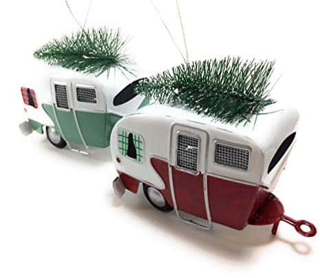 Campers Hauling Trees Tin  Holiday Ornaments
