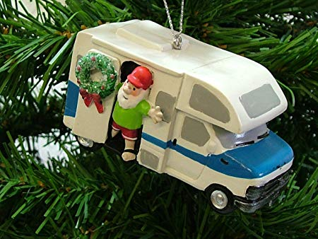 Vintage RV with Santa Ornament