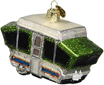 Old World Christmas Glass Blown Ornament Pop Up Camper