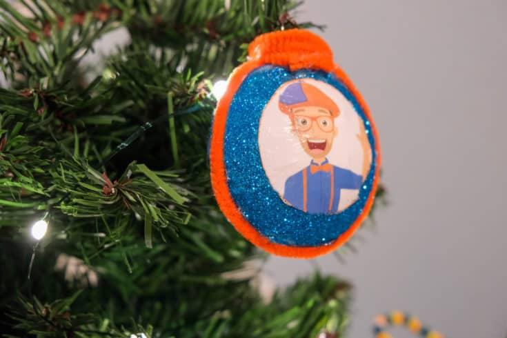 DIY Glittery Blippi Christmas Ornament