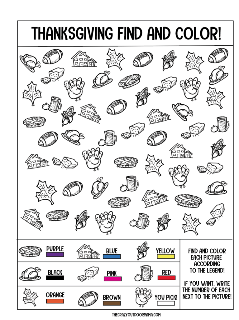 find and color thanksgiving kids printable