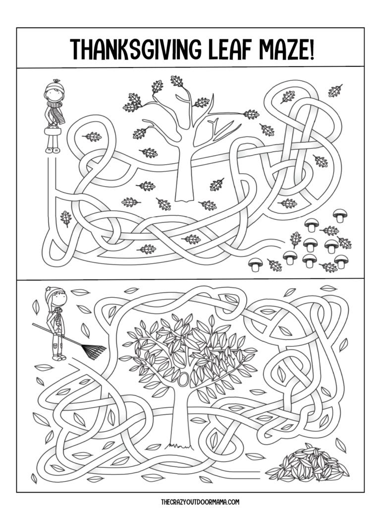 fall maze free printable