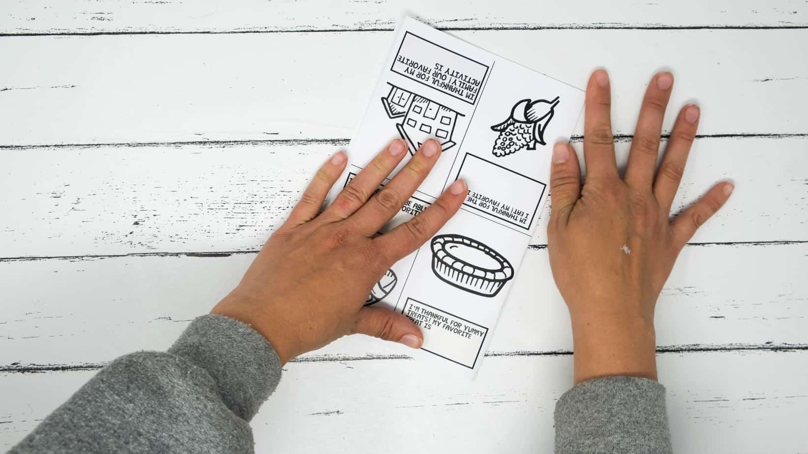 folding journal for kids thankful