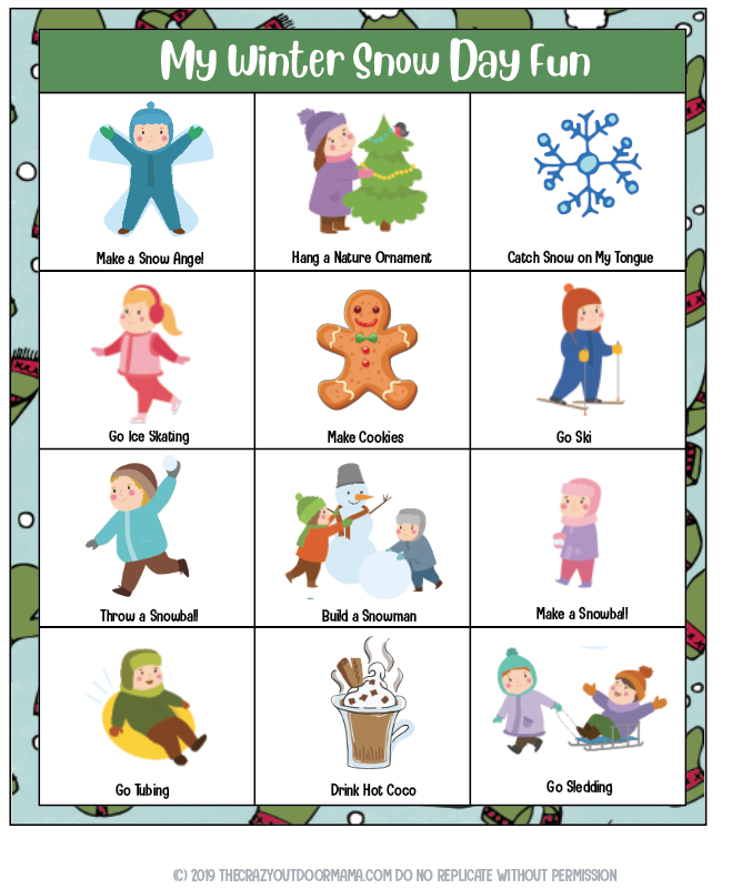 snowy day activity kids printable