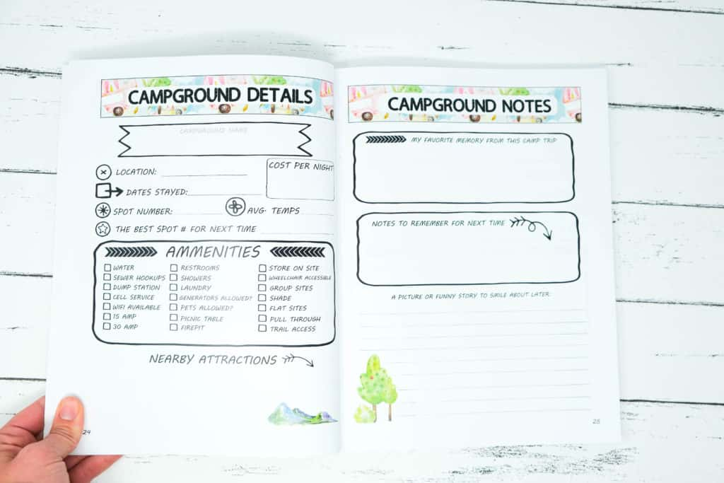 camping log with details and picture spots