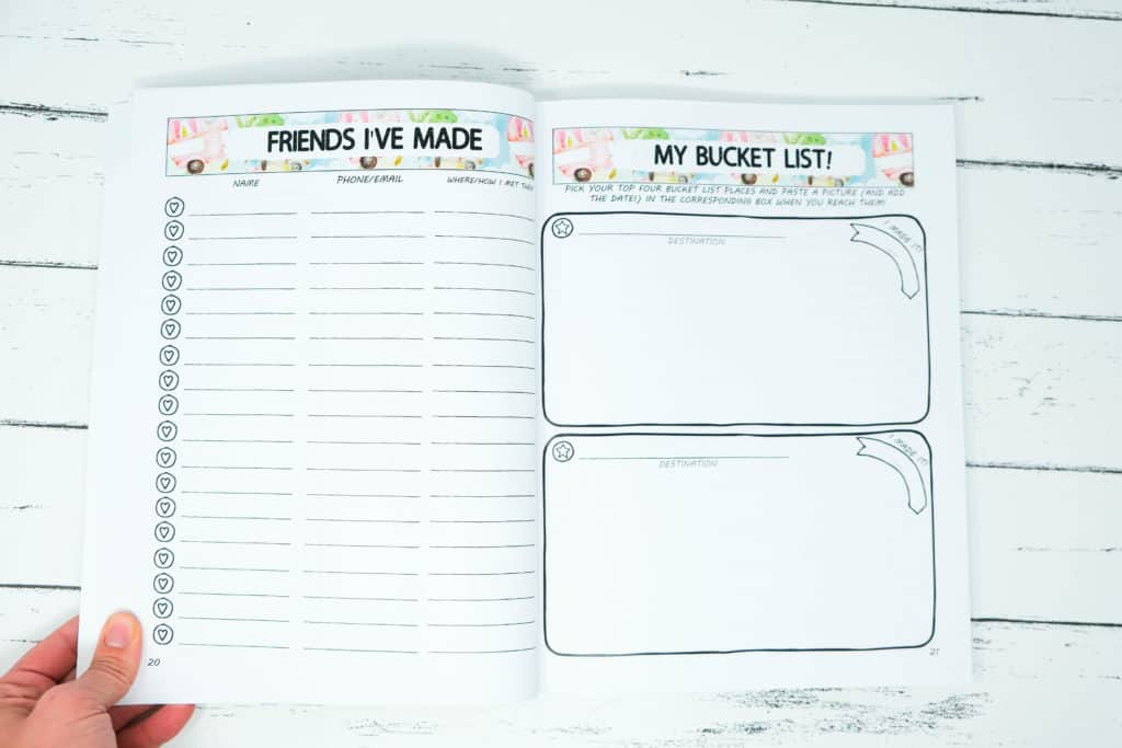 friends and bucketlist page