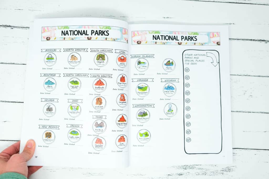 national parks camping journal list