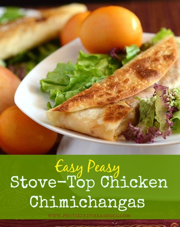 Easy, Peasy Stove-top Chicken Chimichangas