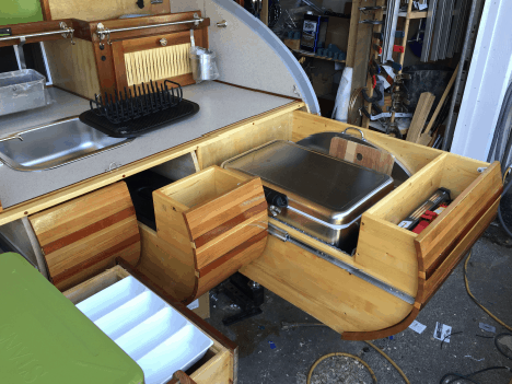 pull out kitchen and galley area in teardrop trailer