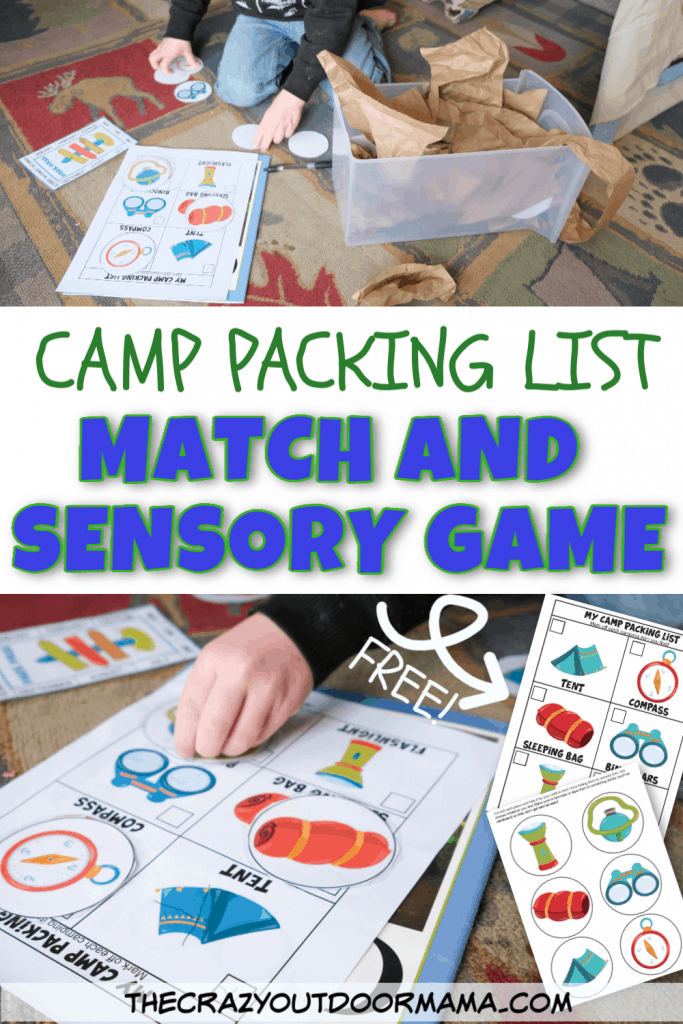 camp themed matching printable game camp week